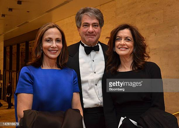 Attendee Nancy Marks from left Leon Black chairman and chief executive officer of Apollo Global Management LLC and theater producer Debra Black stand...