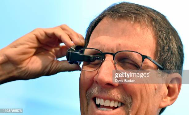 Attendee Rick Adlesic of Florida uses the Vuzix Labs' Smart Swim during CES 2020 at the Las Vegas Convention Center on January 8 2020 in Las Vegas...