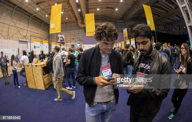 Attendees are seen by Alpha area during the third day of Web Summit on November 08 2017 in Lisbon Portugal Web Summit is a technology conference held...