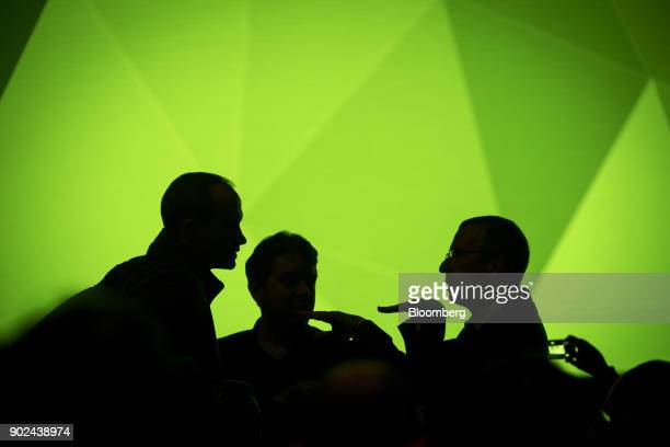Attendees are silhouetted during a Nvidia Corp press event at the 2018 Consumer Electronics Show in Las Vegas Nevada US on Sunday Jan 7 2018 Nvidia...
