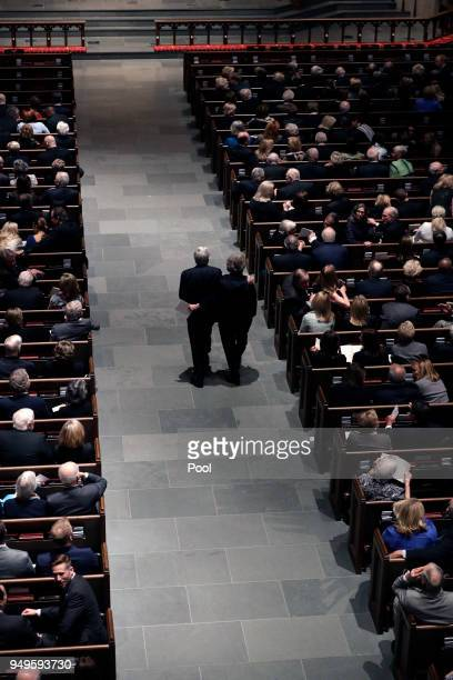 Attendees arrive at St Martin's Episcopal Church for a funeral service for former first lady Barbara Bush on April 21 2018 in Houston Texas Bush wife...