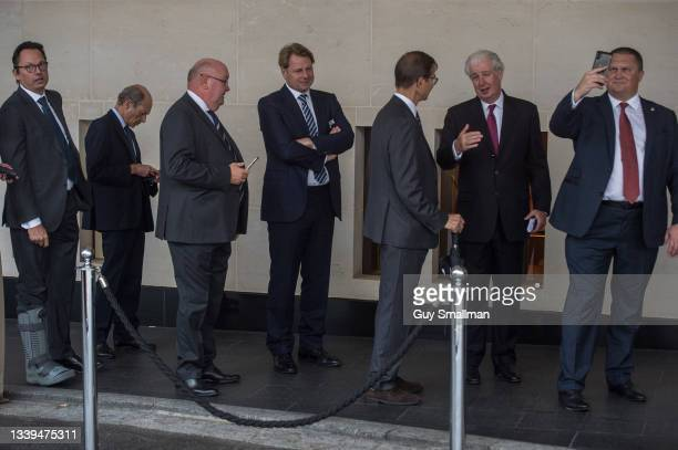 Attendees arrive for a Conservative Party fundraiser lunch at the Intercontinental Hotel on September 10, 2021 in London, England.