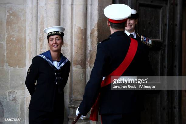 Attendees arrive for a service of thanksgiving for the life and work of Sir Donald Gosling at Westminster Abbey in London