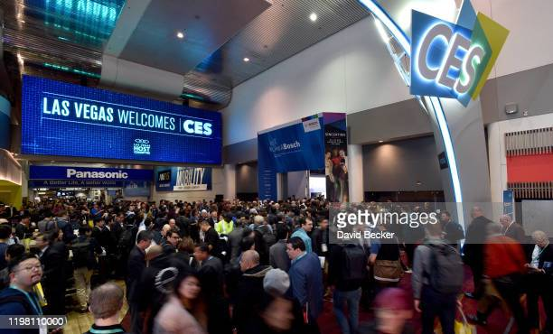 Attendees arrive for the start of CES 2020 at the Las Vegas Convention Center on January 7, 2020 in Las Vegas, Nevada. CES, the world's largest...