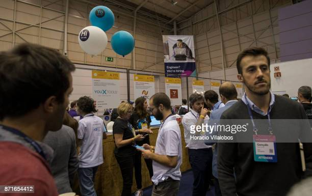 Attendees at Alpha area during the third day of Web Summit on November 08 2017 in Lisbon Portugal Web Summit is a technology conference held annually...