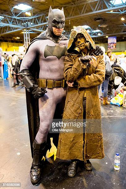 Attendees at Comic Con 2016 in cosplay as tBatman and Scarecrow on March 19 2016 in Birmingham United Kingdom