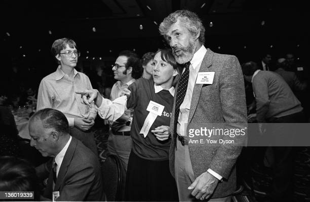 Attendees at the annual PC Forum Phoenix Arizona February 58 1984 Among those pictured are standing from left Bill Gates from Microsoft Robert...