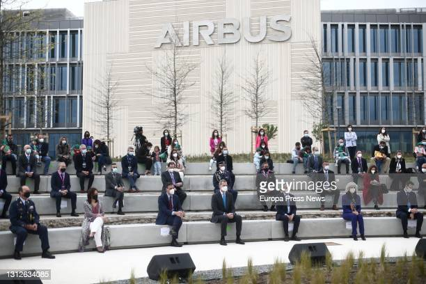 Attendees at the inauguration of the new Airbus campus on 15 April 2021 in Getafe, Madrid, Spain. This campus makes the region the third largest...