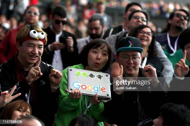 Attendees celebrate before the opening keynote address at the 2019 Google I/O conference at Shoreline Amphitheatre on May 07 2019 in Mountain View...