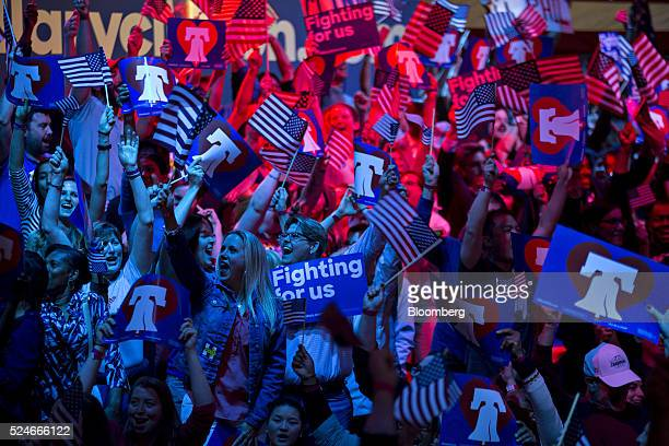 Attendees cheer as election results for Pennsylvania in favor of Hillary Clinton former Secretary of State and 2016 Democratic presidential candidate...