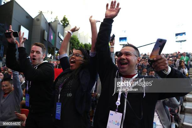 Attendees cheer before the start of the Google I/O 2018 Conference at Shoreline Amphitheater on May 8 2018 in Mountain View California Google's two...
