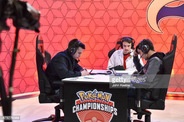 Attendees compete in a livestream match at the Pokemon European International Championships at ExCel on November 17 2017 in London England Thousands...