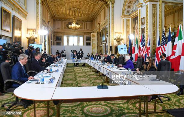 Attendees during a plenary session the first day of the Group of Seven Finance Ministers summit in London, U.K., on Friday, June 4, 2021. U.K....