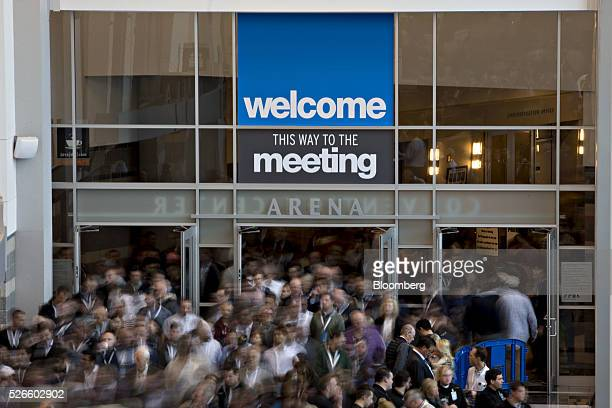 Attendees exit the Berkshire Hathaway Inc annual shareholders meeting during a break in Omaha Nebraska US on Saturday April 30 2016 Dozens of...