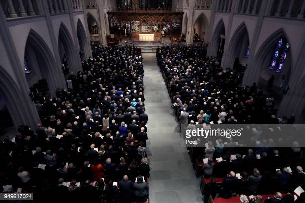 Attendees gather at St Martin's Episcopal Church during a funeral service for former first lady Barbara Bush April 21 2018 in Houston Texas Bush wife...