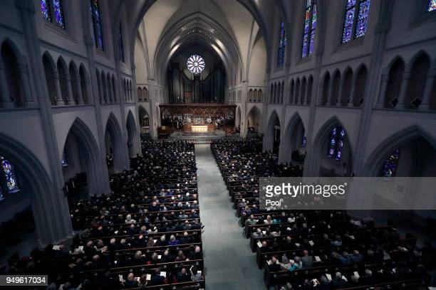 Attendees gather at St. Martin's Episcopal Church during a funeral service for former first lady Barbara Bush, April 21, 2018 in Houston, Texas....