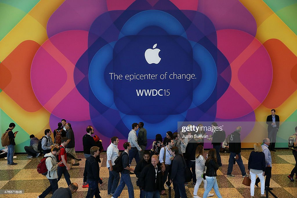 Attendees gather during Apple WWDC on June 8, 2015 in San Francisco, California. Apple annouced a new OS X, El Capitan, iOS 9 and Apple Music during the keynote at the annual developers conference that runs through June 12.