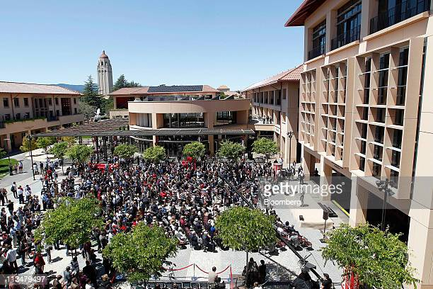 Attendees gather to hear speakers during the the grand opening of the Knight Management Center at Standford Graduate School of Business in Palo Alto...