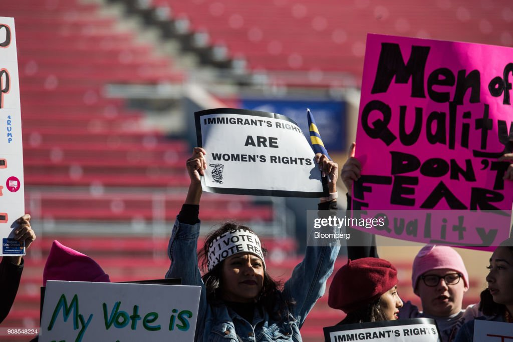 Demonstrators attend the women s march one year anniversary power