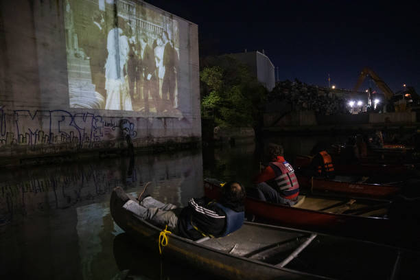 NY: A 'Paddle-In Movie' Screening As Movie Theaters Remain Shut