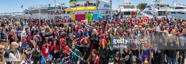 Attendees in cosplay are seen at the #IMDboat at San Diego Comic-Con 2019: Day Three at the IMDb Yacht on July 20, 2019 in San Diego, California. At...