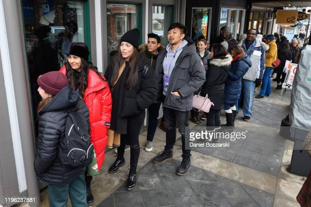 Attendees in line for a conversation with Quibi's Founder Jeffrey Katzenberg and Quibi creators Lena Waithe Veena Sud and Kaitlin Olson at Sundance...