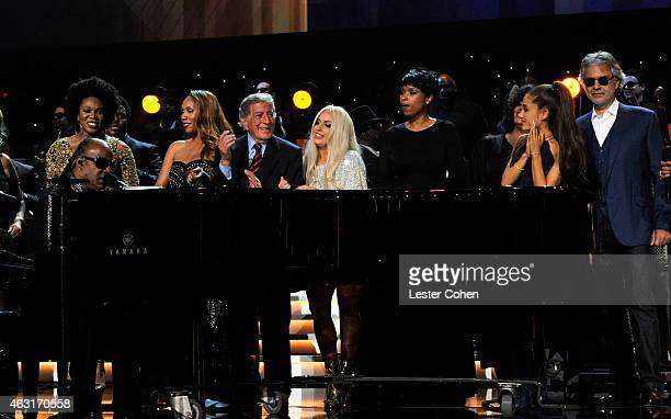 Attendees including honoree Stevie Wonder recording artists Beyonce John Legend Lady Gaga Jason Derulo Annie Lennox Gladys Knight Ariana Grande The...