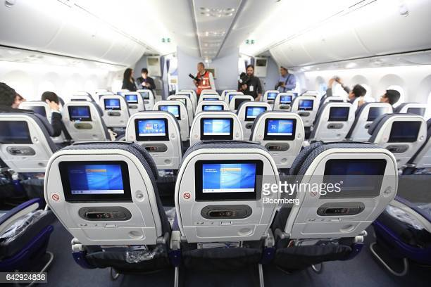 Attendees inspect the interior of an All Nippon Airways Co operated Boeing Co 7878 during a media event at Benito Juarez International Airport in...