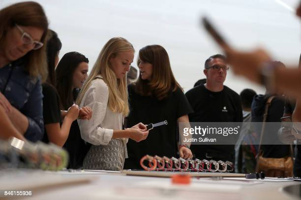 Attendees inspect the new Apple Watch Series 3 during an Apple special event at the Steve Jobs Theatre on the Apple Park campus on September 12 2017...
