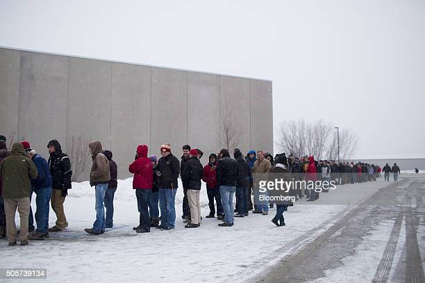 Attendees line up to attend a campaign rally for Donald Trump president and chief executive of Trump Organization Inc and 2016 Republican...