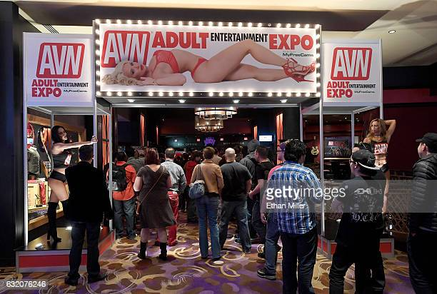 Attendees line up to enter the 2017 AVN Adult Entertainment Expo at the Hard Rock Hotel Casino on January 18 2017 in Las Vegas Nevada