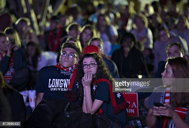 Attendees listen during a watch party on Longwood University campus during the vice presidential debate at Longwood University in Farmville Virginia...