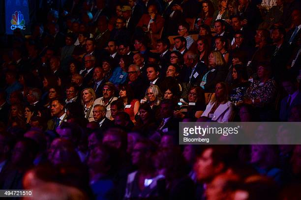 Attendees listen during the Republican presidential debate at the University of Colorado in Boulder Colorado US on Wednesday Oct 28 2015 Three...