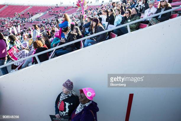 Attendees listen during the Women's March OneYear Anniversary Power To The Polls event in Las Vegas Nevada US on Sunday Jan 21 2018 On the...