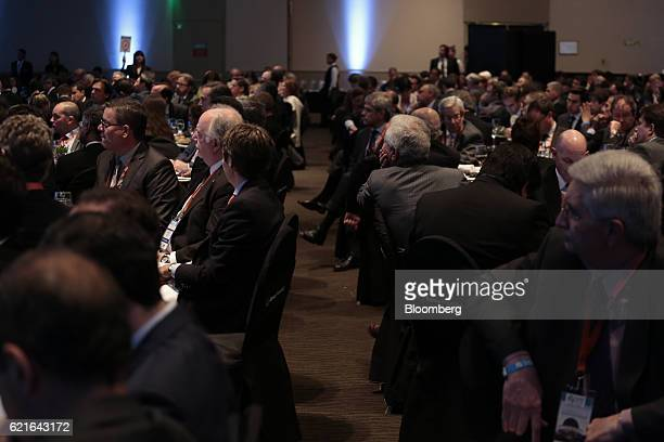 Attendees listen to a presentation during the 50th Anniversary Federation of Latin American Banks Annual Assembly in Buenos Aires Argentina on Monday...