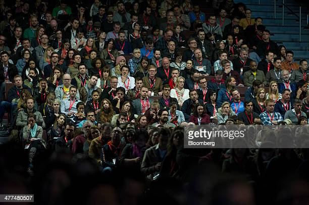 Attendees listen to Anne Wojcicki cofounder and chief executive officer of 23andMe speak during a keynote session at the South By Southwest...