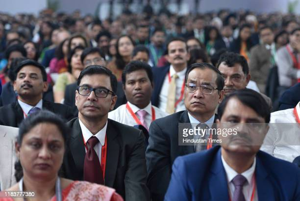 Attendees listen to the speech by Prime Minister Narendra Modi during Accountant General And Deputy Accountant General Conclave at Office of the...