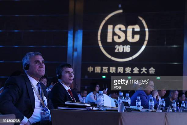 Attendees listen to the speech during the China Internet Security Conference on August 16 2016 in Beijing China The conference held in the National...