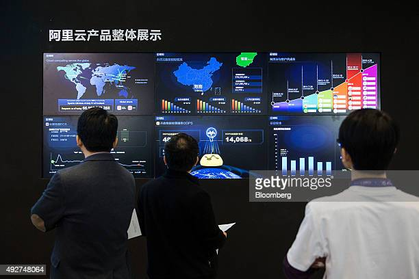 Attendees look at screens displaying the overall scope of AliCloud the cloudcomputing arm of Alibaba Group Holding Ltd at the 2015 Computing...