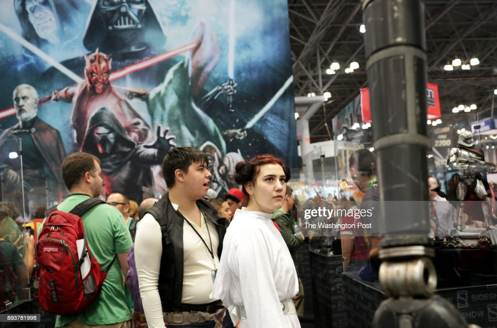 Attendees of Comic Con mingle at the Javits Center in Manhattan, NY, on October 06, 2017.