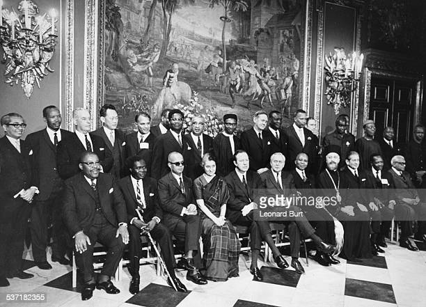 Attendees of the 16th Commonwealth Prime Ministers Conference; Tan Sri Abdul Jamil, Seretse Khama, Keith Holyoake, Arshah Husse, Dawda Jawara, John...