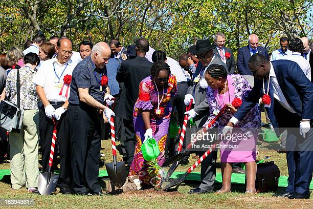 Attendees of the diplomatic conference of the Plenipotentiaries on the Minamata Convention on Mercury plant memorial trees on October 9 2013 in...