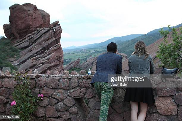 Attendees of the opening night of SeriesFest pause to take in the scenery at Red Rocks Amphitheatre on June 18 2015 in Morrison Colorado