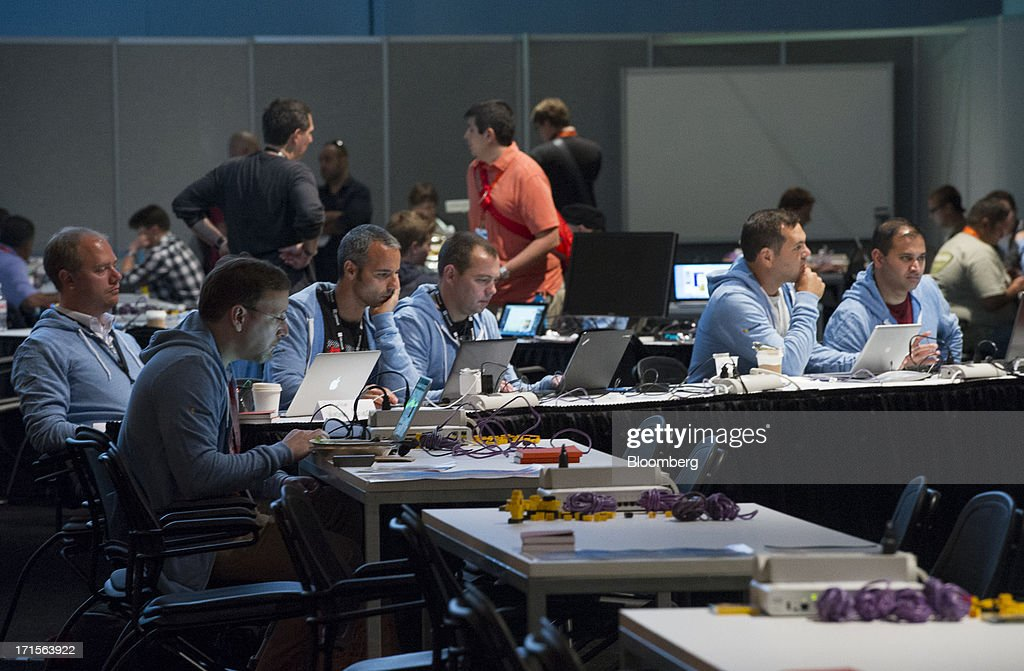Attendees participate in a hack-a-thon during the Microsoft Corp. Build Developers Conference in San Francisco, California, U.S., on Wednesday, June 26, 2013. Facebook Inc. is building an application for Microsoft Corp.'s Windows 8, adding one of the most popular programs still missing from the operating system designed to help Microsoft gain tablet customers. Photographer: David Paul Morris/Bloomberg via Getty Images