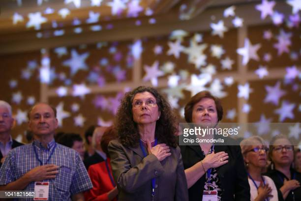 An attendee waits for the start of the Family Research Council's Value Voters Summit at the Omni Shoreham Hotel September 21 2018 in Washington DC...