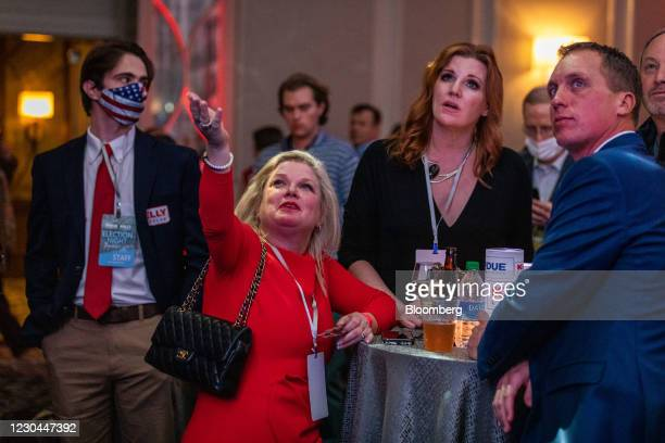 Attendees react as results come in during a GOP election night party in Atlanta, Georgia, U.S., on Tuesday, Jan. 5, 2021. DemocratRaphael...