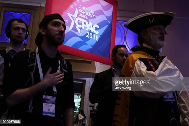 Attendees recite the Pledge of Allegiance during the opening of CPAC 2018 February 22 2018 in National Harbor Maryland The American Conservative...