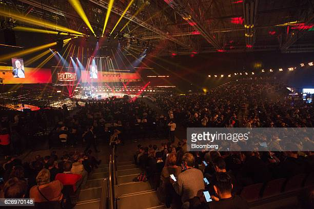 Attendees sit in the crowd to watch a keynote event during the Slush startups event in Helsinki Finland on Wednesday Nov 30 2016 In a survey of...