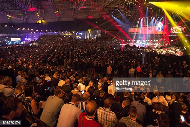 Attendees sit in the crown to watch a panel session during the Slush startups event in Helsinki Finland on Wednesday Nov 30 2016 In a survey of...