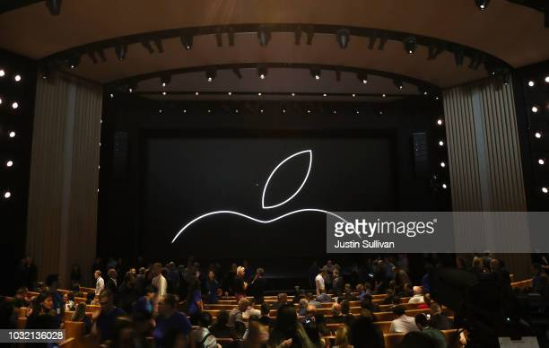 Attendees start to fill in seats prior to an Apple event at the Steve Jobs Theater at Apple Park on September 12 2018 in Cupertino California Apple...